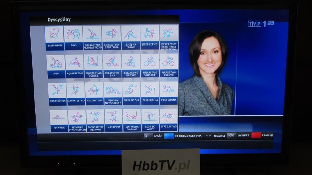 Informacja o dyscyplinach w aplikacji HbbTV od TVP.