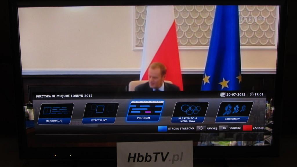 Menu aplikacji HbbTV od TVP dedykowanej dla Olimpiady w Londynie
