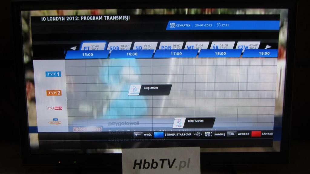 Program transmisji z Olimpiady w ramach aplikacji HbbTV