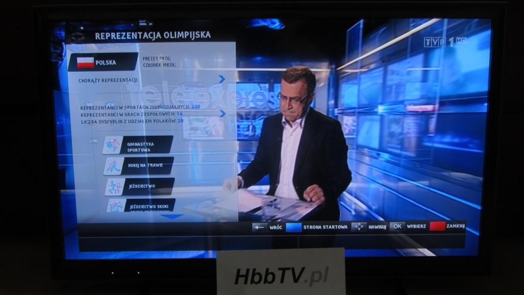 Reprezentacja olimpijska w aplikacji HbbTV od TVP.
