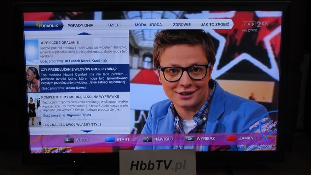 """Wizualizacja aplikacji telewizyjnej HbbTV dedykowanej do programu """"Pytanie na śniadanie"""" - strefa poradnik."""