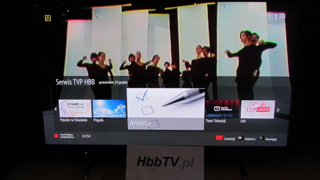 Informacja o dostępnoœci aplikacji Ankieta w serwisie HbbTV od TVP