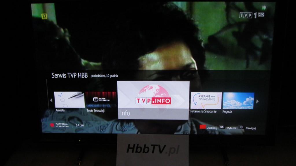 Informacja o dostępności serwisu Info w ramach platformy hybrydowej HbbTV od TVP