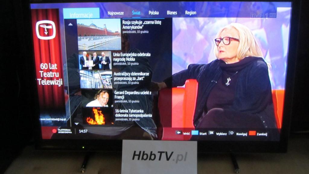 Serwis Info w HbbTV od TVP - lista wiadomości