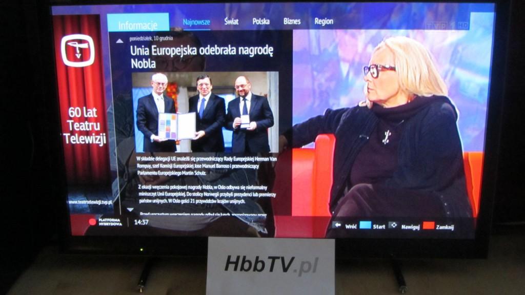 Przykład informacji w serwisie Info od TVP w ramach platformy hybrydowej HbbTV