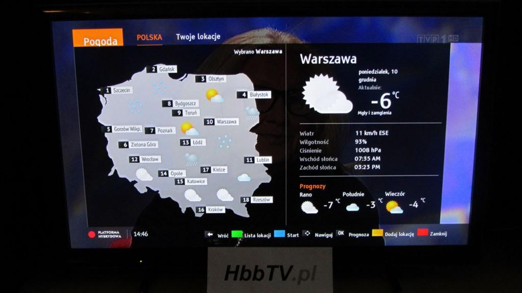 Pogoda - nowy serwis HbbTV od TVP