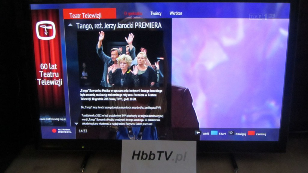 Informacje o spektaklu w serwisie HbbTV Teatr Telewizji od TVP