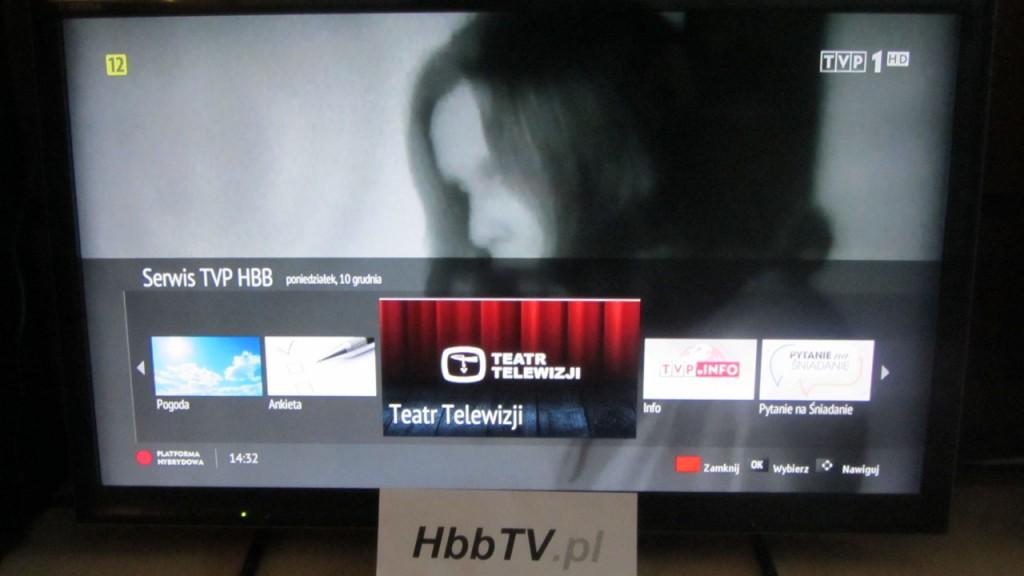 """Ikona aplikacji """"Teatr Telewizji"""" w menu startowym serwisu HBB od TVP w standardzie HbbTV"""