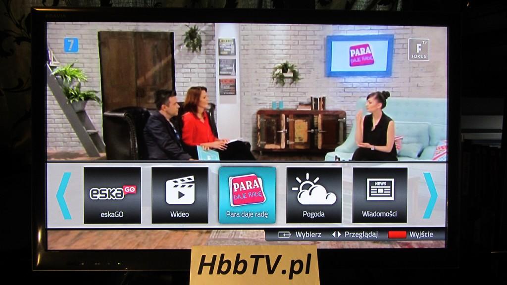 HbbTV na Fokus TV - menu aplikacji