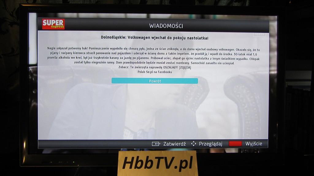Super Express w HbbTV na Fokus TV - przykładowa wiadomość z SE