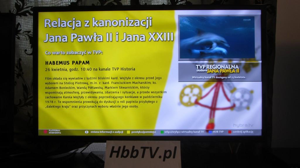 HbbTV - TVP Regionalna Śladami Jana Pawła II - informacje
