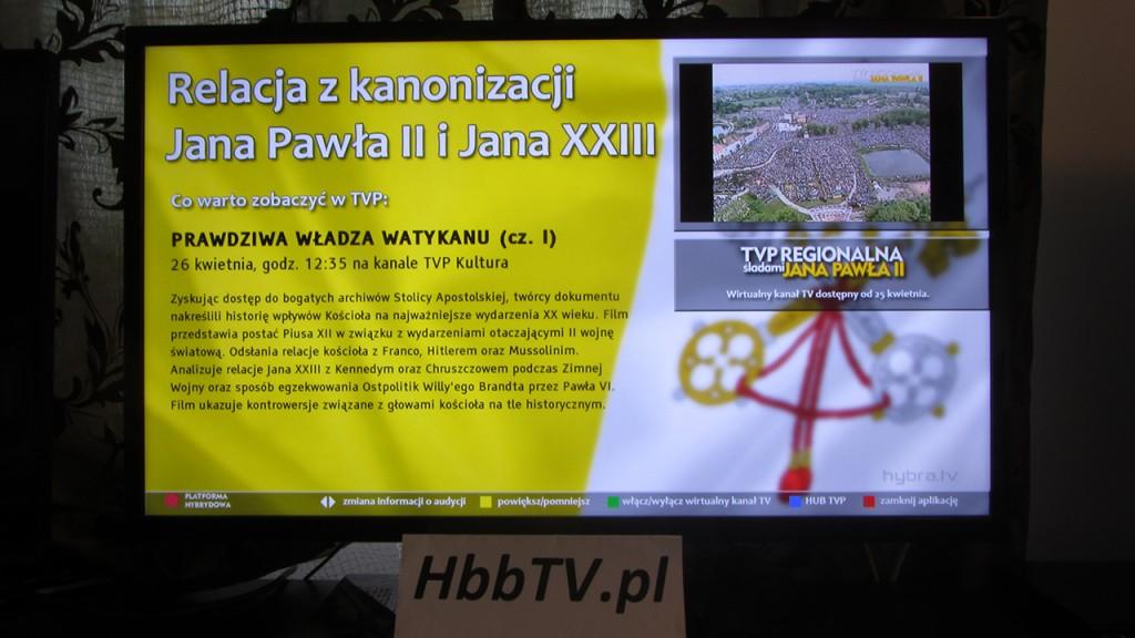 HbbTV - TVP Regionalna Śladami Jana Pawła II - streaming