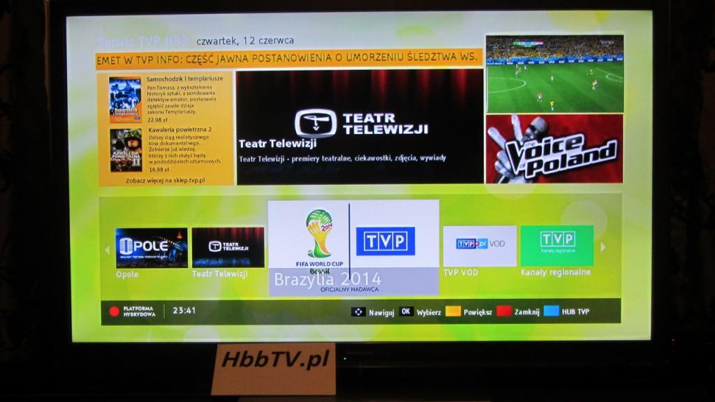 aplikacja HbbTV od TVP na Mundial - Brazylia 2014 - ikona w HUBie