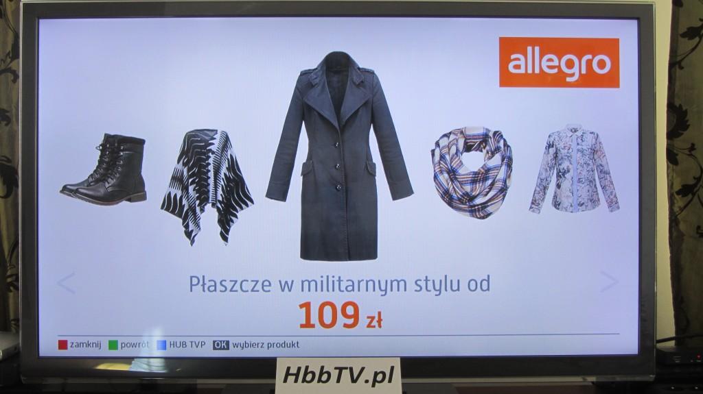 karuzela produktów w  aplikacji HbbTV Allegro