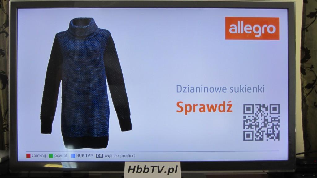 wybrany produkt w  aplikacji HbbTV Allegro