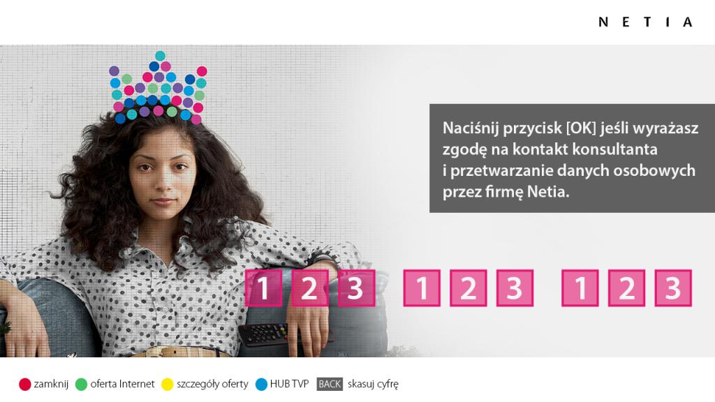 reklama hybrydowa HbbTV - Netia - wpisywanie numeru 1