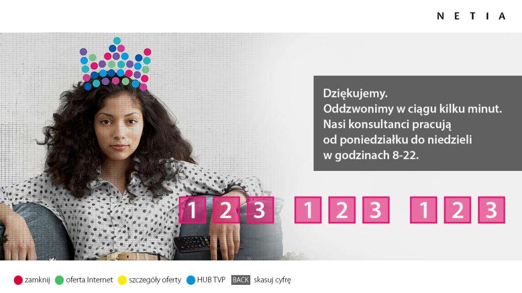 reklama hybrydowa HbbTV - Netia - wpisywanie numeru