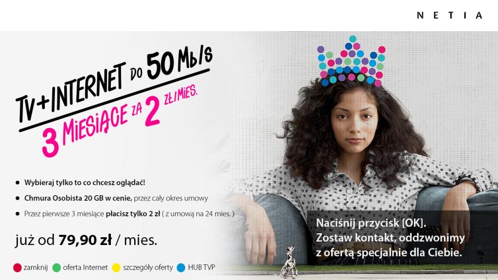 reklama hybrydowa HbbTV - Netia - oferta TV+Internet