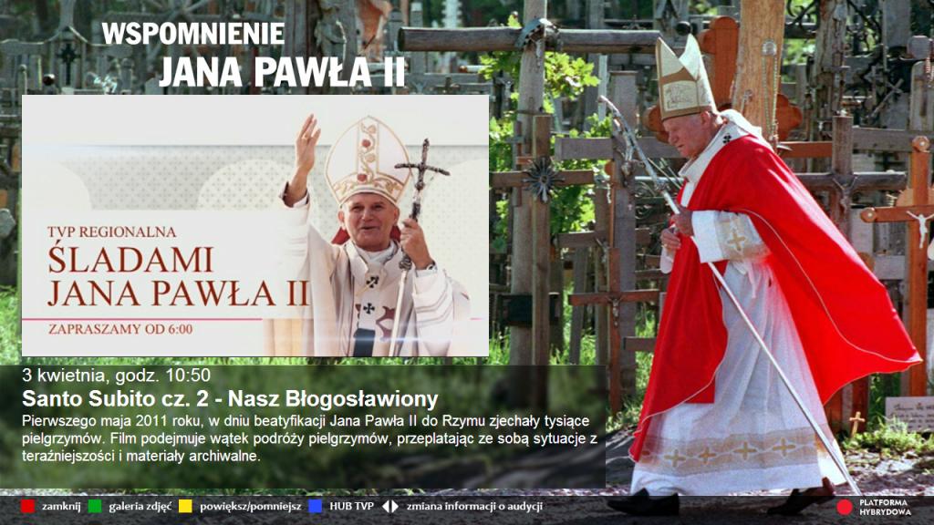aplikacja HbbTV do wirtualnego kanały na zadanie Sladami Jana Pawla II