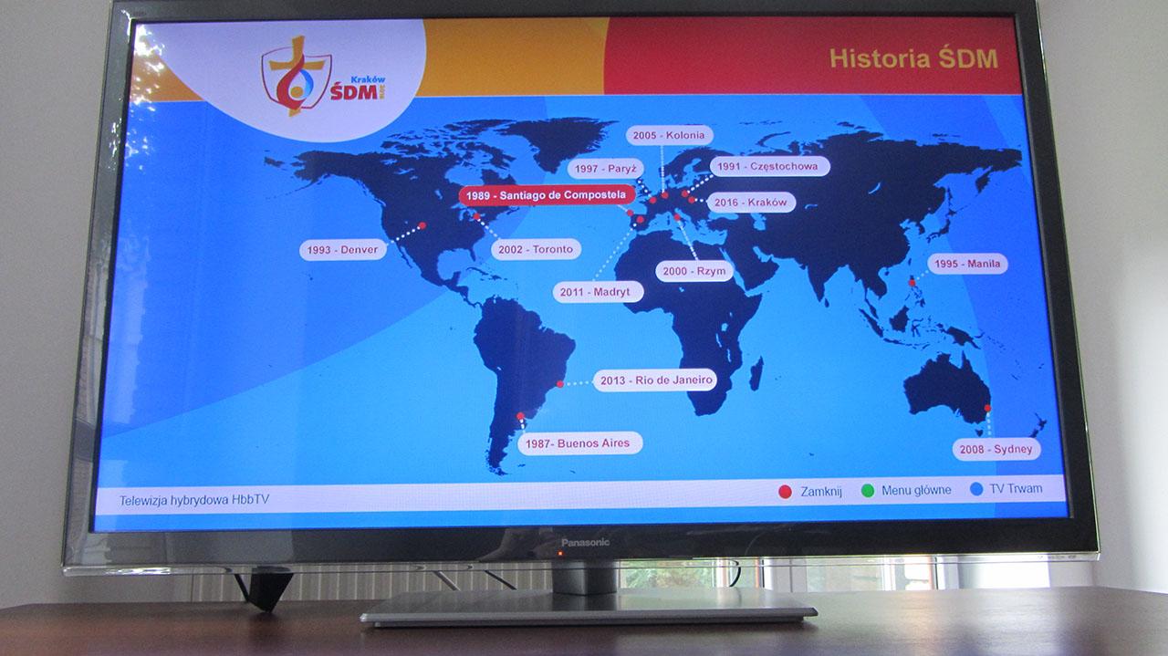 Historia ŚDM w HbbTV na TV Trwam - mapa