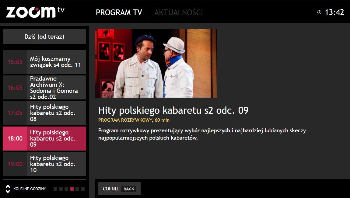 aplikacja HbbTV od Zoom TV