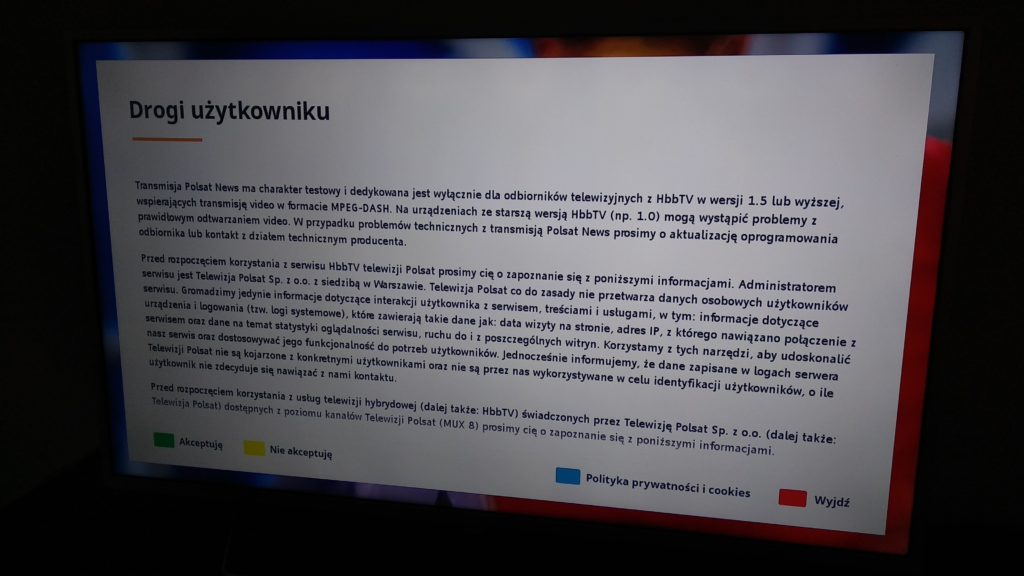 aplikacja HbbTV Polsat News